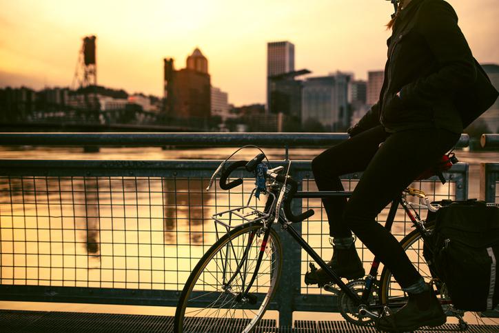 Bike commuter in Portland, Oregon
