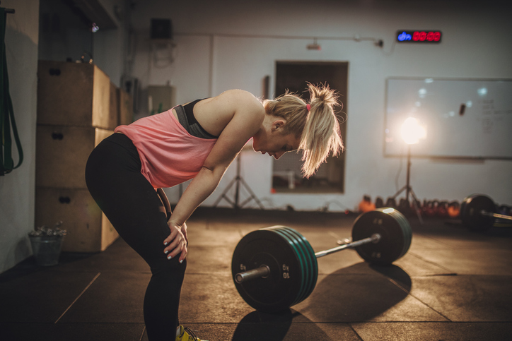 Woman is tired of training