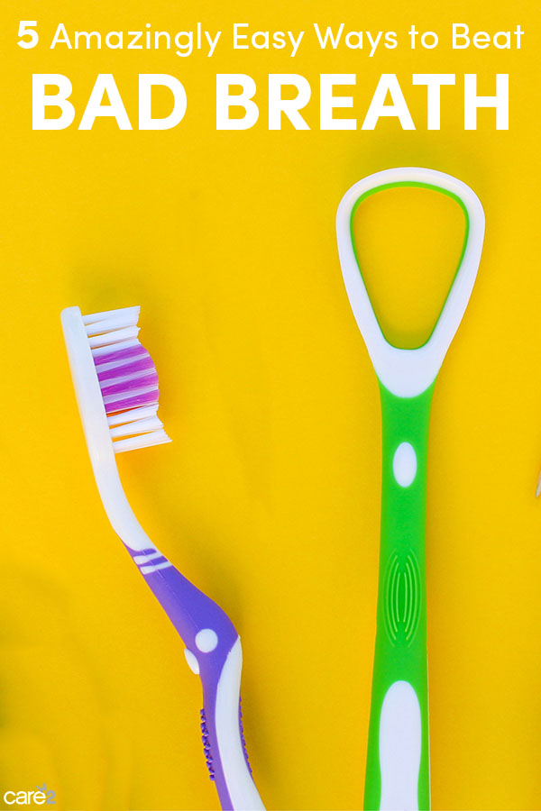 Toothbrushe and tongue scraper on yellow background. Top view.