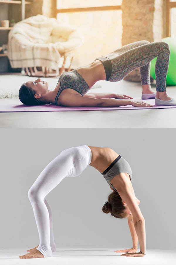 practicing bridge and wheel pose in a yoga studio