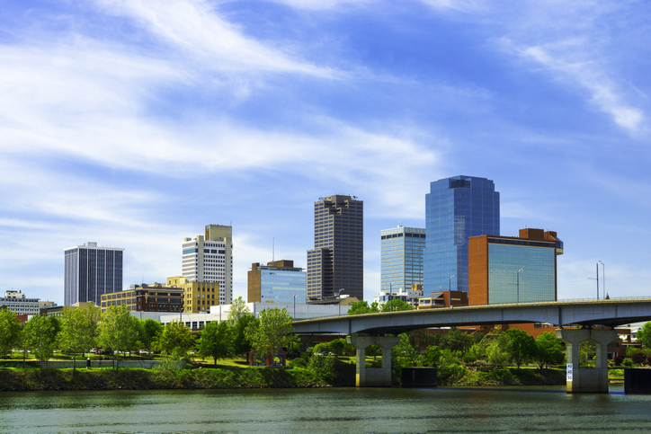 Little Rock downtown skyline with the Arkansas River in the foreground