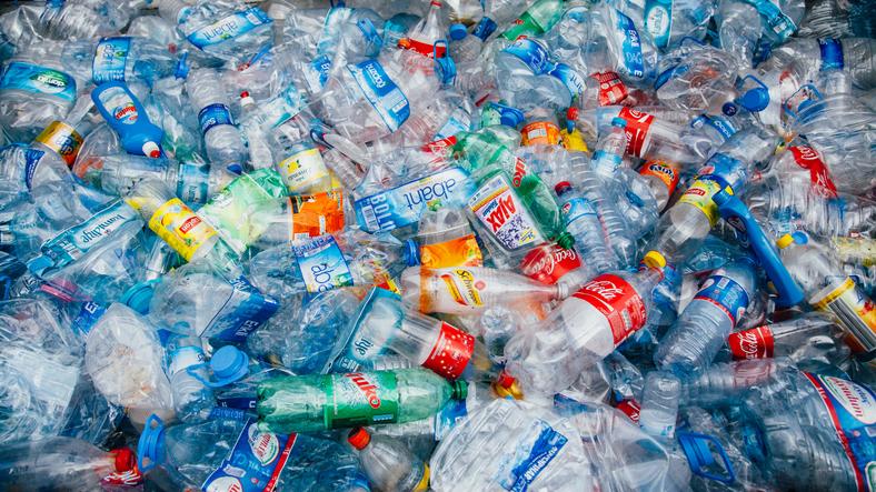 Pile of crushed plastic bottles