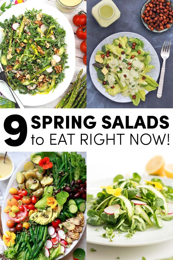 image collage of spring green salads: asparagus farro, green lettuce, Nicoise, spring salad