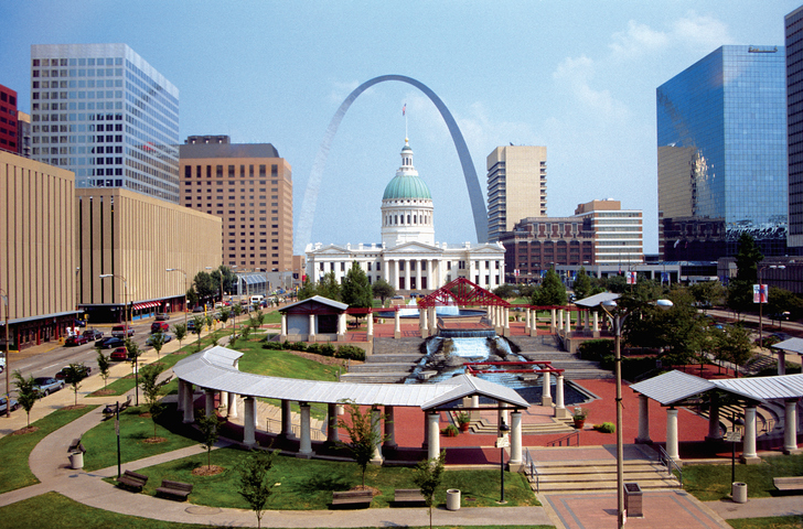 The plaza of the courthouse underneath the St. Louis Arch in St. Louis, Missouri