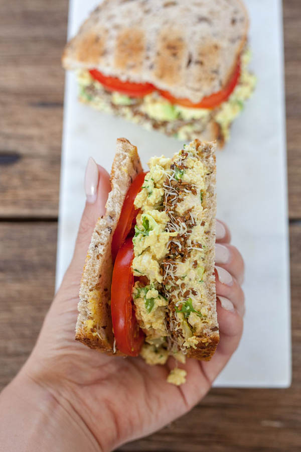 tofu egg salad sandwich from The Edgy Veg