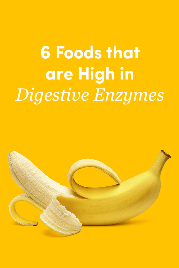"""Banana on yellow background with text: """"6 Foods that are High in Digestive Enzymes"""""""""""