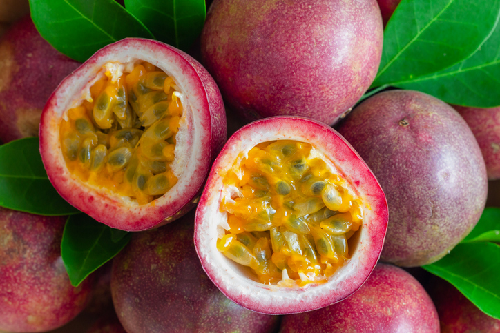 passion fruit with one cut in half