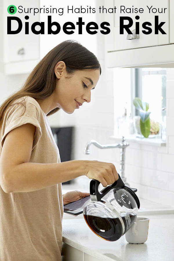 woman standing at a kitchen counter pouring coffee into a cup