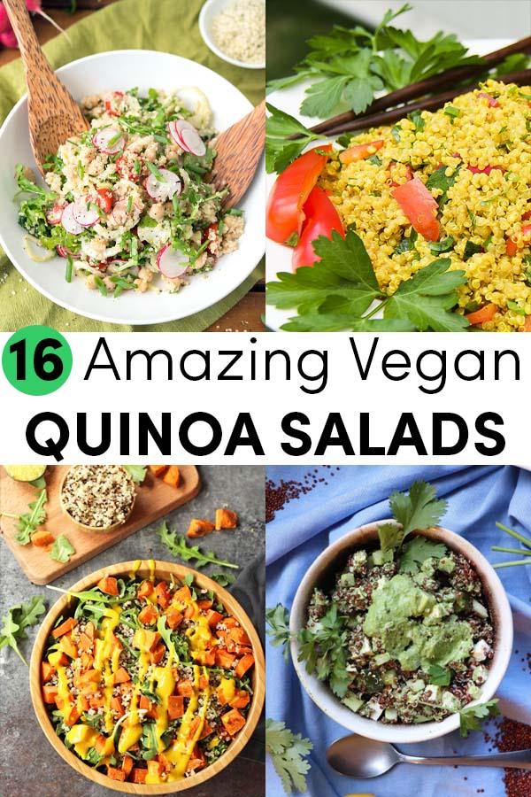 image collage of vegan quinoa salad recipes