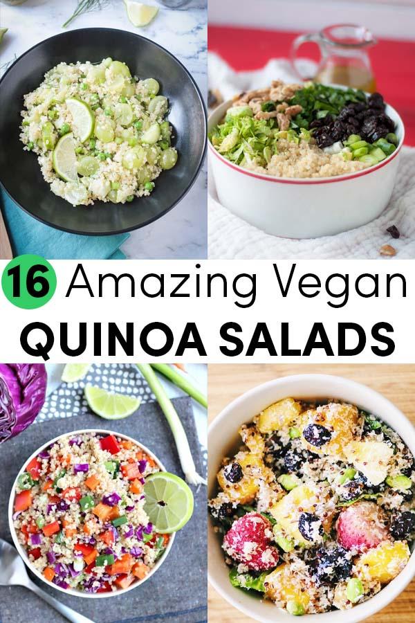 image collage of quinoa salads