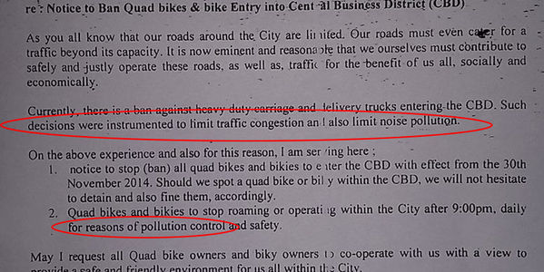 Revoke the ban on bikes and quad bikes in Port Vila CBD