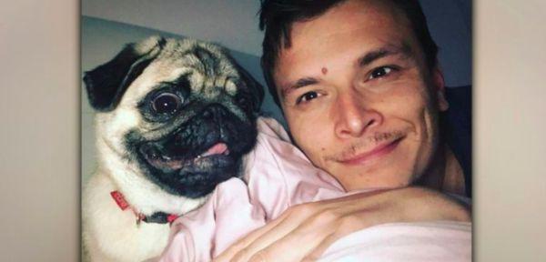 Man hugging pug named Coco