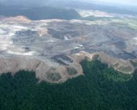 Formerly verdant, thriving forest ecosystem; mountaintop removal mining in action. Photo courtesy of www ohvec org.