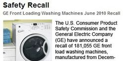 Recall GE WCVH Front Loading Washing Machines due to Smoking Fire Hazard!