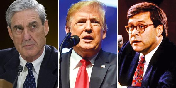 Image result for mueller, trump, and barr