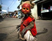 Ban Masked, Begging Street Monkeys in Indonesia