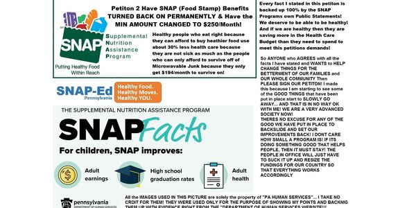 Petition Petition To Have Snap Food Stamp Benefits Turned