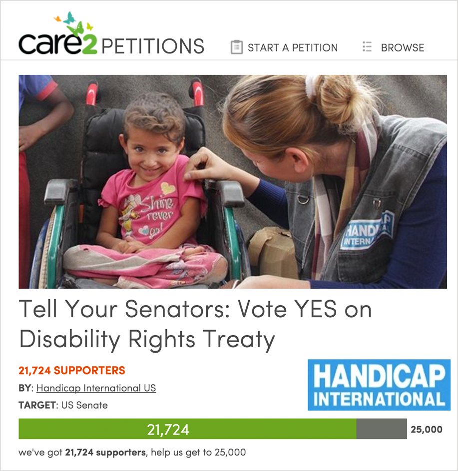 Petition the US Senate for disability rights